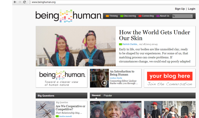 beinghuman.org front page