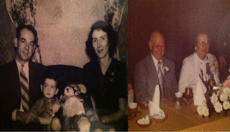 (Left) My paternal grandparents with my father as a toddler. (Right) Their 50th anniversary.