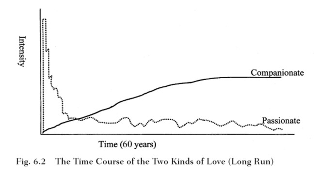 Jonathan Haidt's hypothetical model of passionate love and companionate love in a (very) long-term relationship.