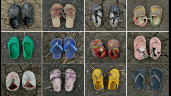 Shoes of Sudanese refugee children age 10 and younger (credit: Shannon Jensen). Source: http://www.shannon-jensen.com/