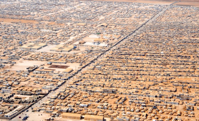 Zaatari camp (Jordan)  for Syrian refugees. Source: wiki commons.