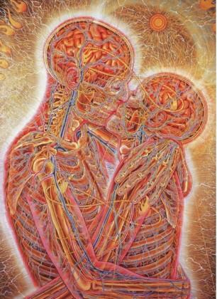 Kissing, by Alex Grey.