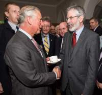 Prince Charles shakes hands with Sinn Fein president Gerry Adams at the National University of Ireland on May 19, 2015 in Galway, Ireland. (Source: Adam Gerrard - WPA Pool/Getty Images)