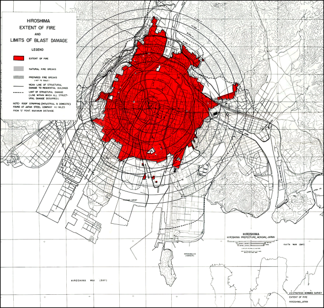 Hiroshima blast and fire damage, U.S. Strategic Bombing Survey map. From wikicommons.