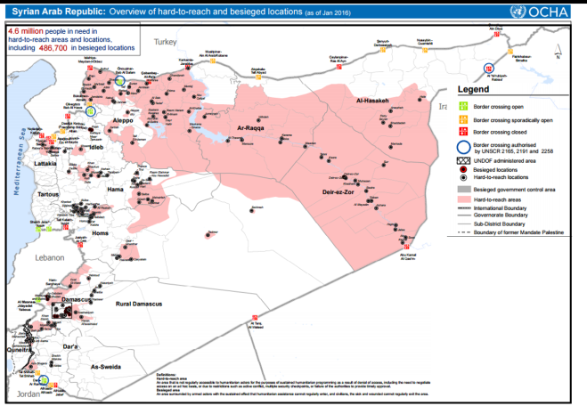 Map showing areas of Syria under siege and beyond reach of relief efforts, as of Jan 2016. Source: Reliefweb.